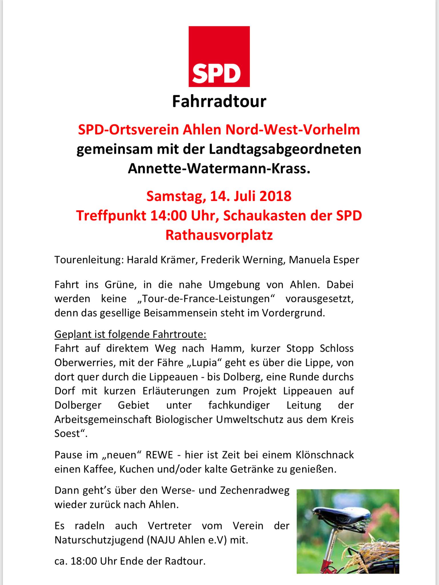 Fahrradtour des SPD Ortsvereins NWV am 14.07.2018 › SPD Ahlen